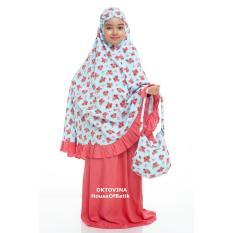 Oktovina-HouseOfBatik Mukena Anak Rayon – Kids MAR-2B – Blue Salem / Mukena / Mukena Anak / Mukena dan Sarung Santung / Perlengkapan Shalat