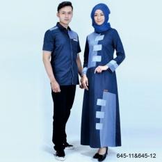Original Azzurra  Jual Dress Muslimah Couple Wanita 645-12  Warna : Navy Komb  Terbuat dari Bahan : Katun