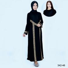 Original Azzurra  Jual Gamis Muslimah Casual Wanita 342-46  Warna : Hitam  Terbuat dari Bahan : Black Jet