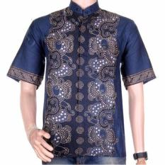Lasido Baju Batik Koko Muslim Lengan Pendek ZO11 Kemeja Fashion Pria Fashionable Shirt Clothes Man Katun Prima Nyaman Tidak Luntur Kerja Formal Casual Kondangan Modern Cool Short Sleeve Tampil Gagah Kece K035 - Biru