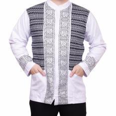 Ormano Baju Koko Muslim Batik Lengan Panjang Lebaran ZO17 KK36 Kemeja Fashion Pria - Putih