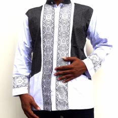 Ormano Baju Koko Muslim Batik Lengan Panjang Lebaran ZO17 KK38 Kemeja Fashion Pria - Putih