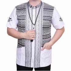 Ormano Baju Koko Muslim Batik Lengan Pendek Lebaran ZO17 KK15 Kemeja Fashion Pria - Putih