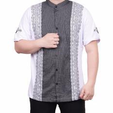 Ormano Baju Koko Muslim Batik Lengan Pendek Lebaran ZO17 KK53 Kemeja Fashion Pria - Putih