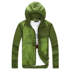 Outdoor Kulit Musim Semi dan Mantel Musim Panas Ultraviolet-bukti Mantel Debu Ultrathin Grille Kain Pasangan Rash Guard Panjang Lengan Jaket (hijau Tentara) -Intl?