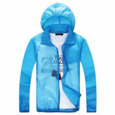 Outdoor Kulit Musim Semi dan Mantel Musim Panas Ultraviolet-bukti Mantel Debu Ultrathin Grille Kain Pasangan Rash Guard Panjang Lengan Jaket (biru Royal) -Intl?