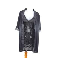 Ovila Lingerie Kimono Set Inner HRS + Gstring - Hitam