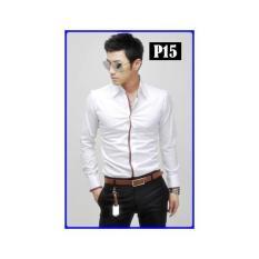 P15 Kemeja Putih Laki-Laki Hem Korea- Tailor Kelas Atas SIZE LENGKAP