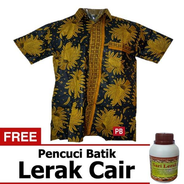 Pasar Beringharjo Fashion Baju Kemeja Hem Atasan Katun Batik Pria Dewasa Kerja Kantor Kasual - Seragam