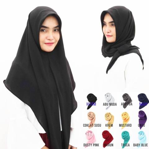 Pashmina Hijab Jilbab Kerudung Khimar Instan Segiempat Segitiga Instan