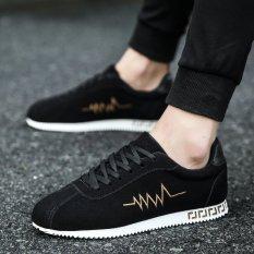 Pemuda Korea Fashion Style Datar Siswa Sekolah Menengah Terjatuh Sepatu Pria Sepatu Cortez Nike (Emas Hitam) sepatu pria Sepatu kulit Sepatu kerja sepatu formal pria