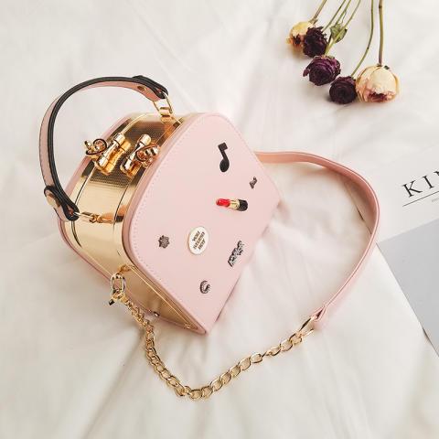 Persegi kecil perempuan baru lipstik lencana portabel tas wanita tas (Merah muda) OE427FAAAU1ZFSANID-