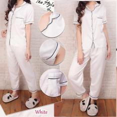 Piyama Basic Satin Putih   Baju Tidur Celana Panjang Satin Silky Velvet