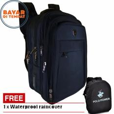 Polo Power Tas Ransel Pria 18 Inchi Expandable PP082016 Highest Spec Polo Backpack Import Original - Black + Raincover