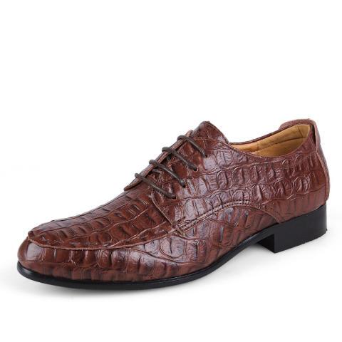 Home; Pria Kulit Asli Sepatu Formal Sepatu Gaun Buaya Pola Kantor Bisnis Sepatu Sepatu Casual Pria Kulit Asli Sepatu Brown