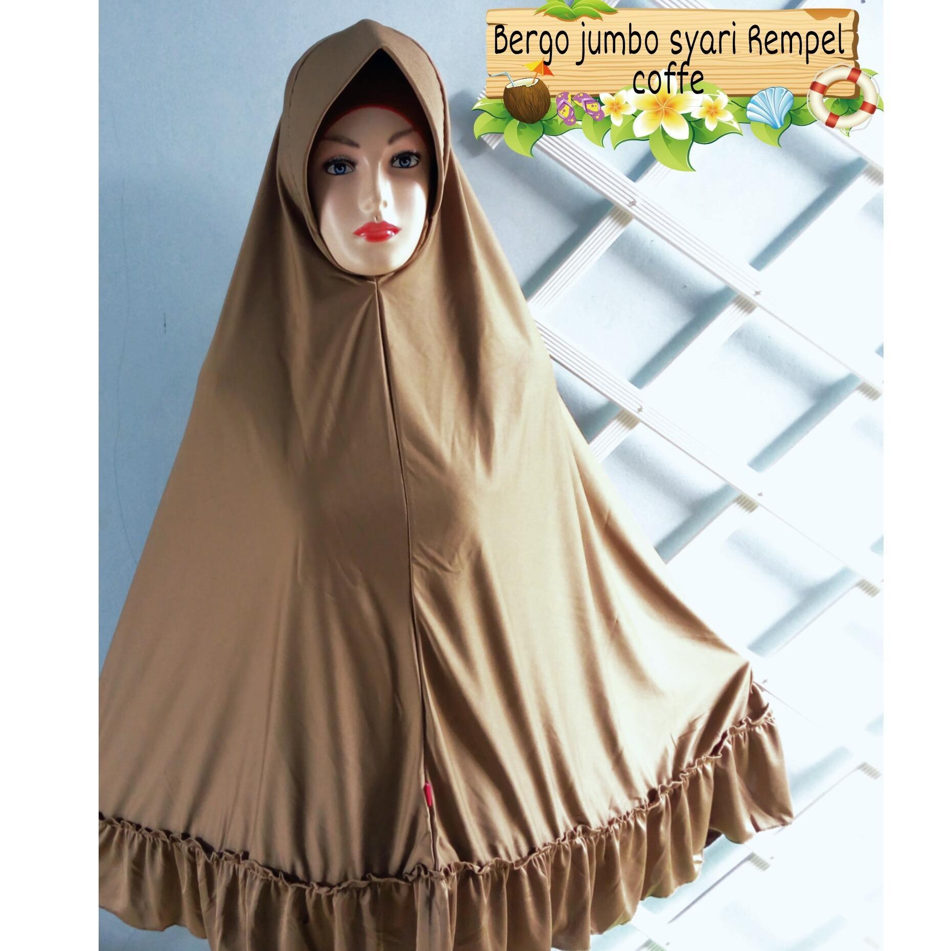 Promo Jilbab Kerudung Hijab Khimar Syar'i Bergo Jumbo Besar Syari Rempel - tukiyem13