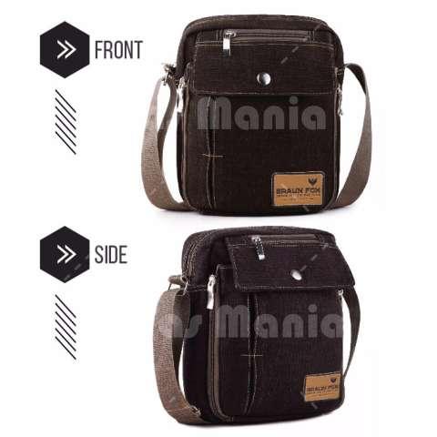 Tas Slempang Import Uncle Star Kanvas Militer Messenger Shoulder Bag - Dark Brown Chest Bag Selempang