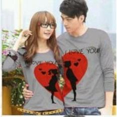 Pusat Baju Couple Online - Kaos Kapel Lengan Panjang Murah - Pakaian Pasangan Moon Love abu