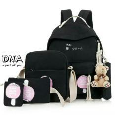 PUSAT GROSIR Tas Ransel Backpack Anak Sekolah Anak SD Laki Cewe Perempuan DNA Paket 4in1 Murah Hitam