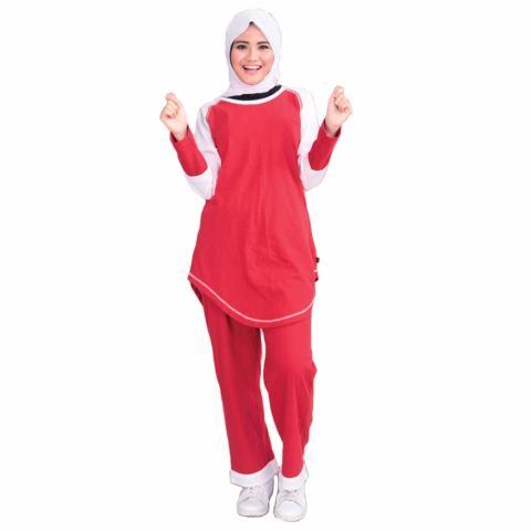 Qirani Setelan Baju Olahraga Muslimah - Merah Putih