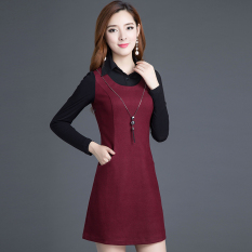 Korea Fashion Style Slim Lengan Panjang Setengah Panjang Model Gaun Rok Dalaman (Anggur merah)