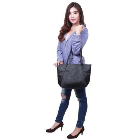 QuincyLabel Tas Wanita Women Fashion PU Tote Leather Handbags Shoulder Bags - Navy/Blue