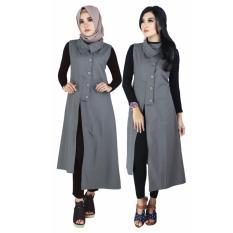 Raindoz Pakaian Muslim Wanita /Outer /Gamis RKOx021 Dark Grey