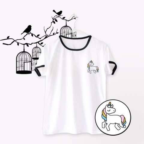 INC Ringer Tee / T-Shirt / Kaos Wanita Flying Unicorn - Putih