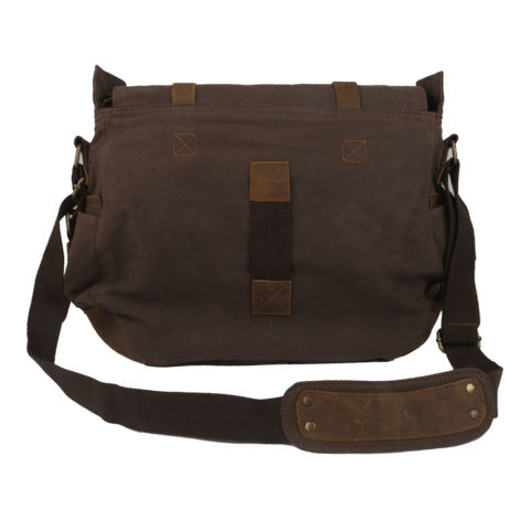 RIS Unisex Canvas Leather Satchel School Military Shoulder Messenger Bag Coffee (Export) - Intl - intl 3