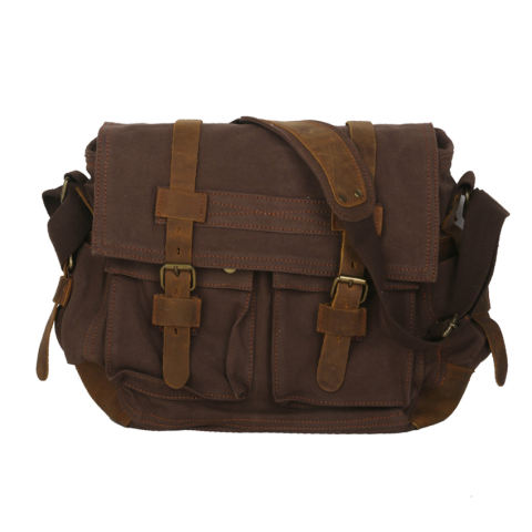 RIS Unisex Canvas Leather Satchel School Military Shoulder Messenger Bag Coffee (Export) - Intl - intl 1