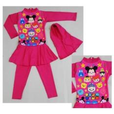 RNKD71 - Baju Renang Anak Muslim Tsum-Tsum Pink