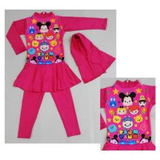 RNKD71 - Baju Renang Anak Muslim Tsum-Tsum Pink - UKURAN XXL