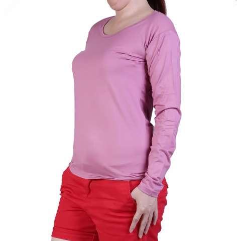 Ronaco Baju Kaos Polos Panjang O Neck 293 - Pink Muda