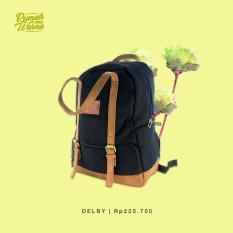 RW - Tas Ransel Backpack Pria Wanita Handmade Bags Rumah Warna - Delby Hitam