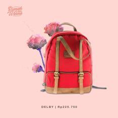 RW - Tas Ransel Backpack Pria Wanita Handmade Bags Rumah Warna - Delby Merah