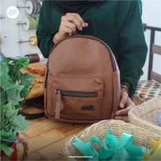 RW - Tas Ransel Wanita Imut Backpack Handmade Bags Vinyl Rumah Warna - Imoet Coklat