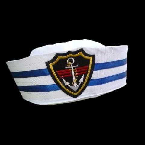 Home  Pelaut Kapal Kapten Kapal Biru Putih Topi Militer Angkatan Laut Cap  dengan Anchor Sea 87af441074