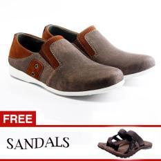 Salvo / fashion pria / sepatu / sepatu pria / flat shoes / flatshoes / sepatu casual / sepatu casual pria / sepatu cowo / sepatu cowok / sepatu flat / sepatu murah / sepatu pria casual / sepatu pria murah / slip on pria SC coklat  free sandal SG01 coklat