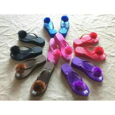 sandal jepit wedges pom pom lucu murah