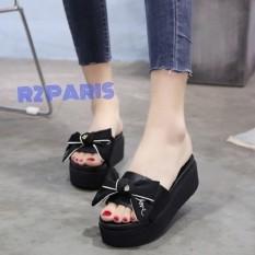 Sandal Platform Wanita Pita Ikat Hitam - Naura R2