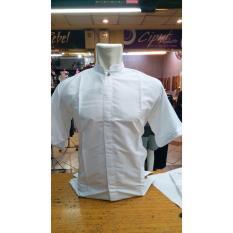 Sumber Rejeki - Santri - Baju Koko Putih / Kemeja Takwa Putih / Busana Muslim Pria Warna Putih - Lengan Pendek - Size M L XL - Bahan Katun Halus