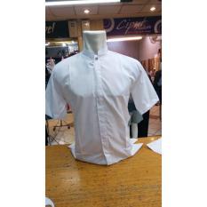 Sumber Rejeki - Santri - Baju Koko Putih / Kemeja Takwa Putih / Busana Muslim Pria Warna Putih - Bahan Katun Halus - Lengan Pendek - Size M L XL