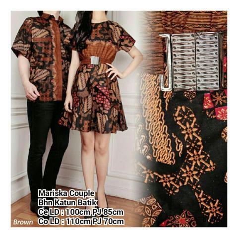 ... SB collection Couple Batik Mariska Dress Dan Kemeja Sarimpit Coklat d38a8c6773