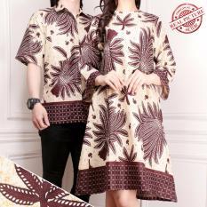 SB Collection Couple Dress Tunik Batik Dan Kemeja Pria Lili - Cream Muda