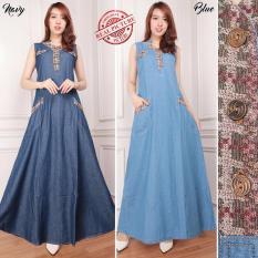 SB Collection Dress Devy Maxi Long Dress Jeans Gamis - Biru