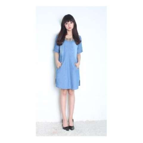 Sb Collection Dress Midi Holey Jeans Songket-Biru Muda