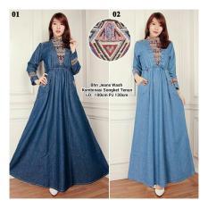 SB Collection Maxi Dress Laila Gamis Jeans Songket-Biru Muda