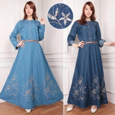 SB Collection Maxi Jumbo Dress Romance Gamis Jeans Bordir - Biru Muda
