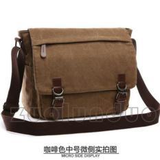 Selempang Kanvas Zou Lun Duo 8645-1 [Coklat] - Ukuran M Lebar 33cm - Tas Laptop - Tas Kerja - Tas sekolah - Tas Kuliah - Tas Santai - Tas Wanita - Tas Pria - Mugu Bag