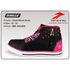 Sepatu Anak Perempuan Sevenray Giselle - Hitam/Merah Muda